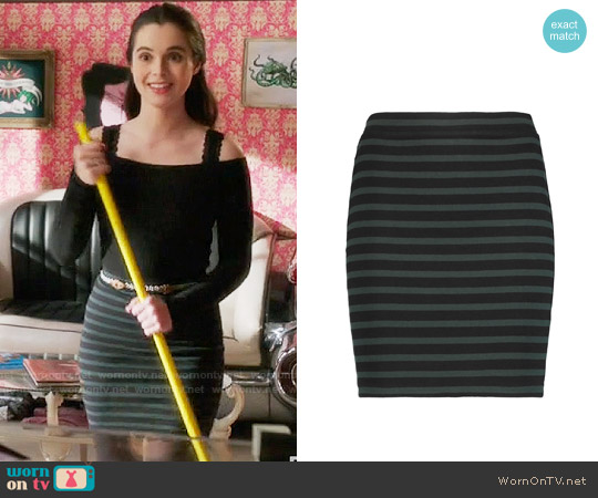 T By Alexander Wang Striped Cotton Mini Skirt worn by Vanessa Marano on Switched at Birth