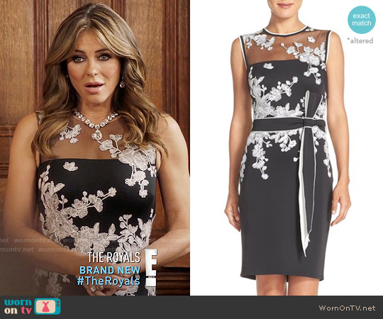 Tadashi Shoji Belted Embroidered Scuba Sheath Dress worn by Queen Helena (Elizabeth Hurley) on The Royals