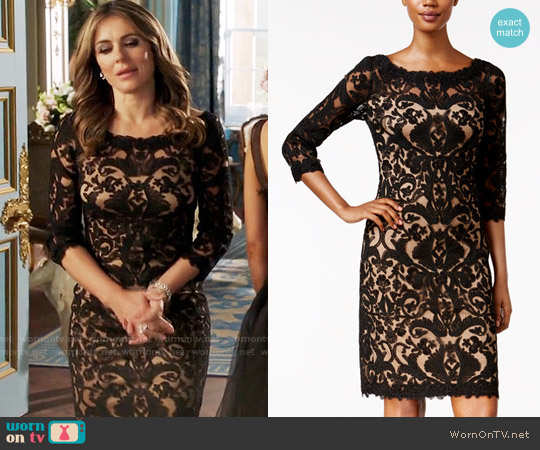 Tadashi Shoji Three-Quarter-Sleeve Lace Dress worn by Queen Helena (Elizabeth Hurley) on The Royals
