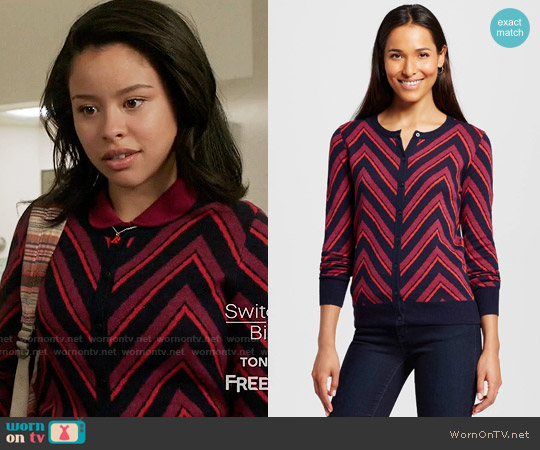 Merona Favorite Cardigan Long Sleeve Chevron Xavier Navy worn by Mariana Foster (Cierra Ramirez) on The Fosters