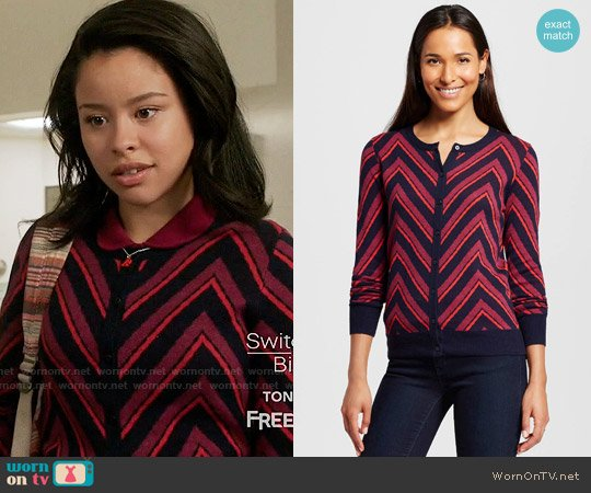 Merona Favorite Cardigan Long Sleeve Chevron Xavier Navy worn by Cierra Ramirez on The Fosters