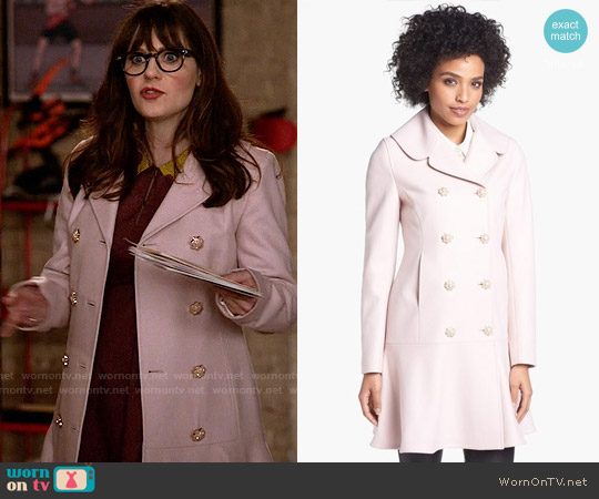 Ted Baker Wool Blend Peplum Hem Coat worn by Zooey Deschanel on New Girl
