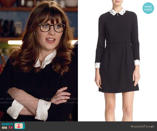 Ted Baker Embroidered Collar Fit & Flare Dress worn by Zooey Deschanel on New Girl