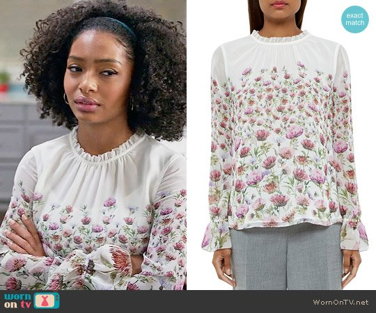 Ted Baker Luceal Top worn by Zoey Johnson (Yara Shahidi) on Blackish