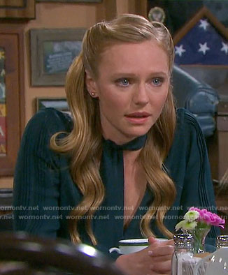 Abigail's green tie neck blouse on Days of our Lives