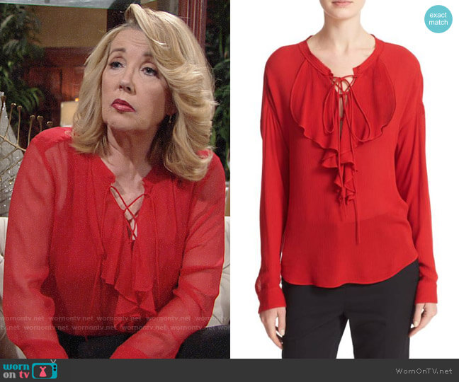 The Kooples Ruffle Front Blouse worn by Nikki Reed Newman (Melody Thomas-Scott) on The Young & the Restless