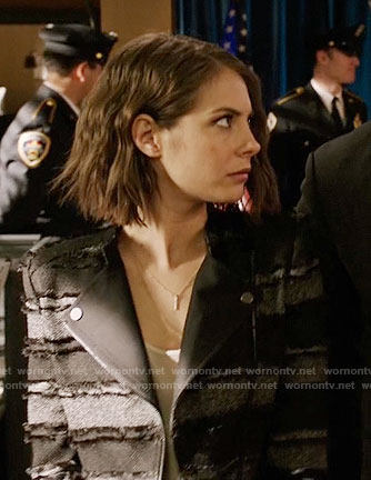Thea's black striped tweed moto jacket on Arrow