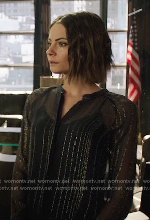 Thea's sheer metallic striped blouse on Arrow