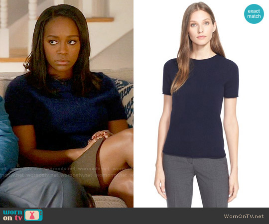 Theory 'Tolleree' Short Sleeve Cashmere Pullover worn by Aja Naomi King on HTGAWM