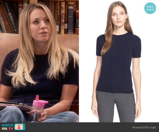 Theory 'Tolleree' Short Sleeve Cashmere Pullover worn by Kaley Cuoco on The Big Bang Theory