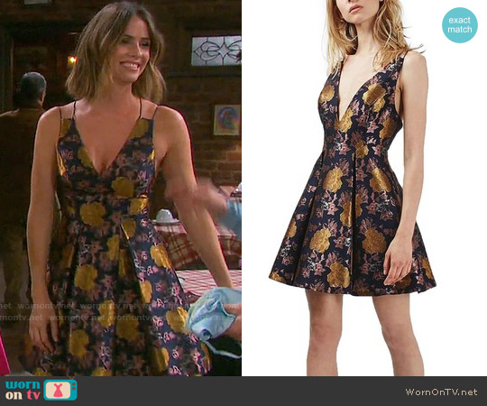 Topshop Floral Jacquard Plunge Minidress worn by Shelley Hennig on Days or our Lives