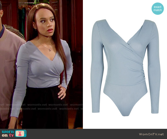 Topshop Long Sleeve Wrap Rib Body worn by Nicole Avant (Reign Edwards) on The Bold & the Beautiful