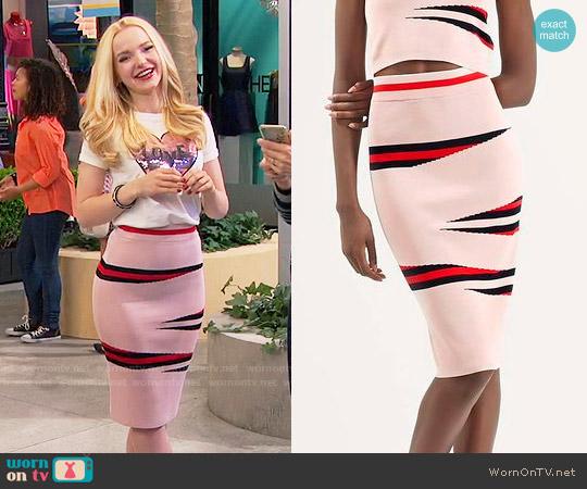 Topshop Eraser Stripe Skirt worn by Dove Cameron on Liv & Maddie