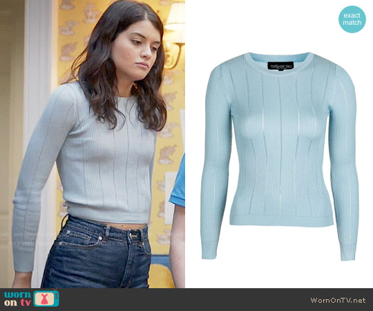 Topshop Pointelle Stitch Crop Top worn by Sofia Black D'Elia on The Mick