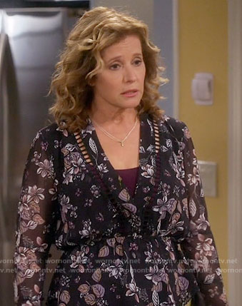 Vanessa's black leaf print blouse on Last Man Standing