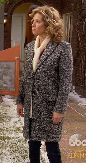 Vanessa's speckled coat on Last Man Standing