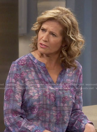 Vanessa's purple plaid and floral blouse on Last Man Standing