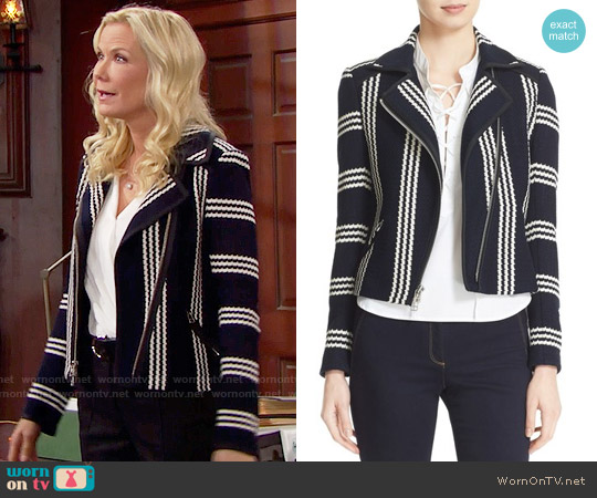 Veronica Beard Bailey Stripe Knit Moto Jacket worn by Brooke Logan (Katherine Kelly Lang) on The Bold & the Beautiful