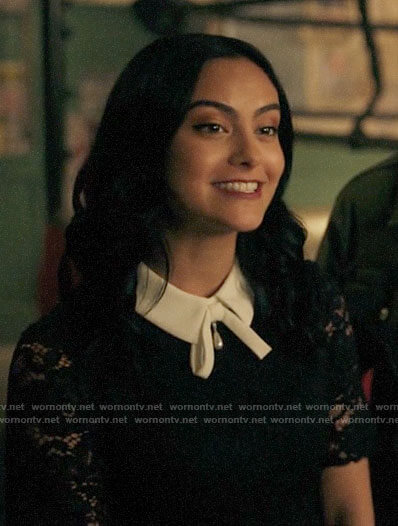 Veronica's navy lace dress with white collar on Riverdale