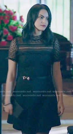 Veronica's black lace short sleeve dress on Riverdale