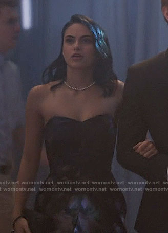 Veronica's strapless jacquard dress on Riverdale