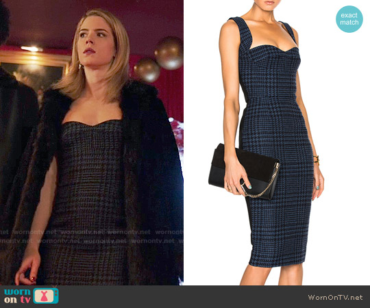 Victoria Beckham Houndstooth Cami Dress worn by Felicity Smoak (Emily Bett Rickards) on Arrow