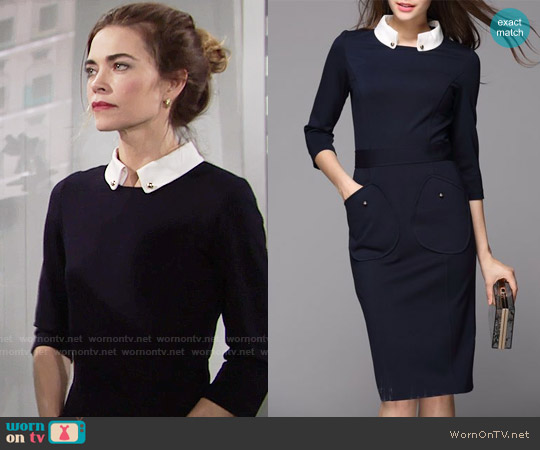 Victoria by Victoria Beckham Navy Collared Dress worn by Victoria Newman (Amelia Heinle) on The Young & the Restless