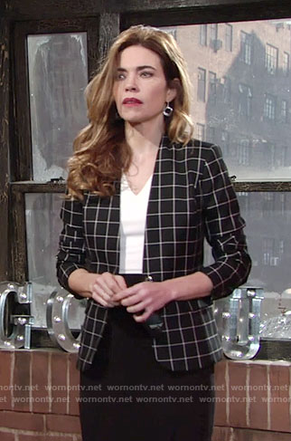 Victoria's black and white checked blazer on The Young and the Restless