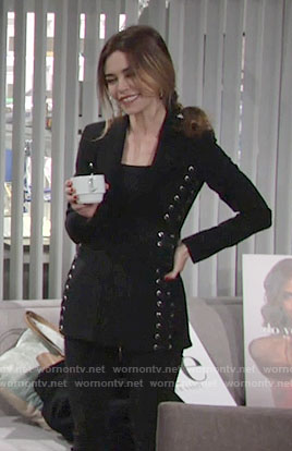 Victoria's black lace-up blazer on The Young and the Restless