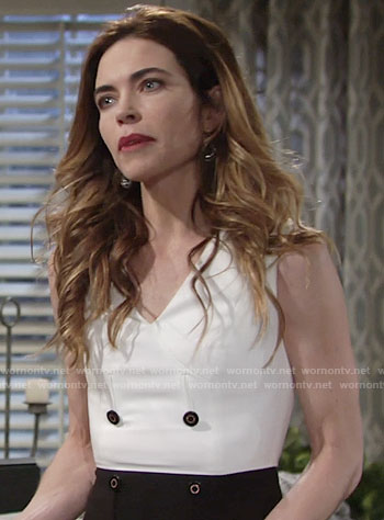 Victoria's black and white double breasted dress on The Young and the Restless