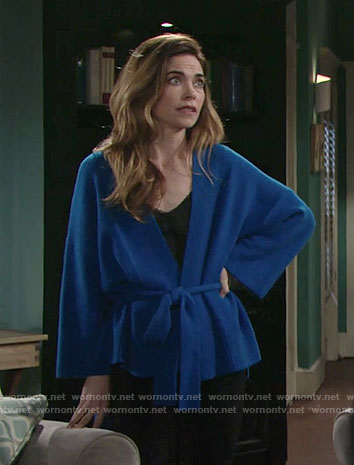 Victoria's blue belted cardigan on The Young and the Restless