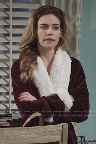 Victoria's burgundy robe with shearling trim on The Young and the Restless