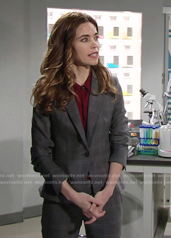 Victoria's grey checked suit on The Young and the Restless