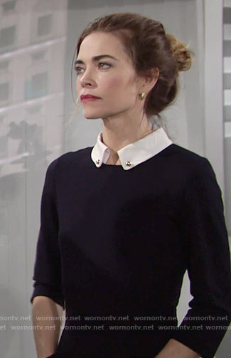 Victoria's navy dress with front pockets and white collar on The Young and the Restless