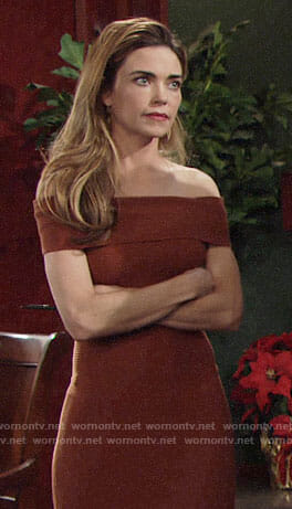 Victoria's orange ribbed off-shoulder dress on The Young and the Restless
