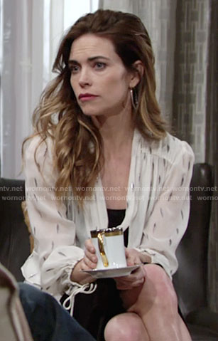 Victoria's white ruffled tie-neck blouse on The Young and the Restless