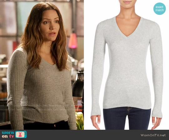 Vince Skinny Ribbed V-neck Sweater worn by Paige Dineen (Katharine McPhee) on Scorpion