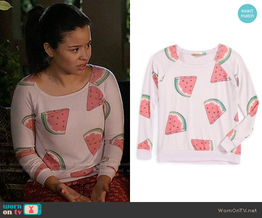Vintage Havana Girls Watermelon Print Sweatshirt worn by Mariana Foster (Cierra Ramirez) on The Fosters