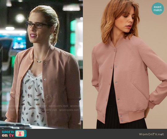 Wilfred Poussin Bomber in Derma worn by Felicity Smoak on Arrow