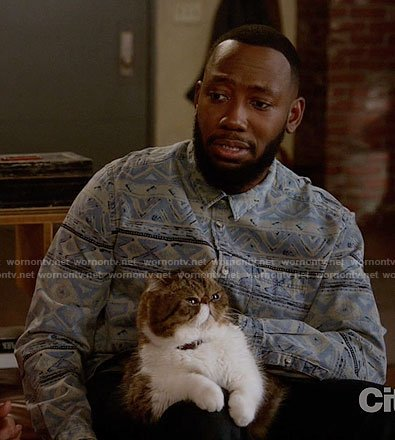 Winston's blue and grey printed shirt on New Girl