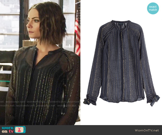 Zadig & Voltaire Blouse with Metallic Stripes worn by Willa Holland on Arrow