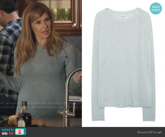 Zadig & Voltaire My Creation Reglis Sweater in Aqua worn by Connie Britton on Nashville