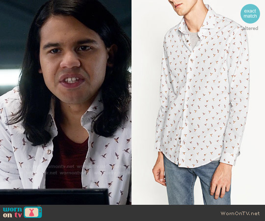 Zara Birds Shirt worn by Cisco Ramon (Carlos Valdes) on The Flash
