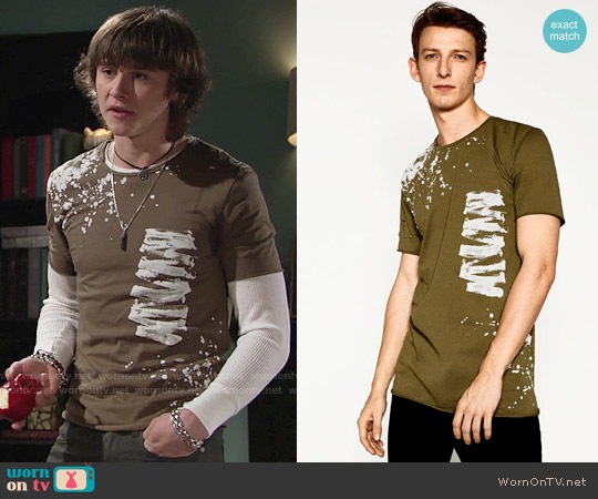 Zara Printed T-shirt worn by Tristan Lake Leabu on The Young & the Restless