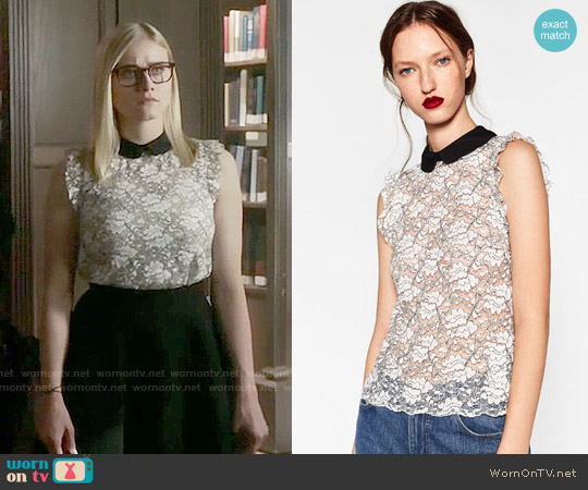 Zara Lace Top worn by Olivia Taylor Dudley on The Magicians
