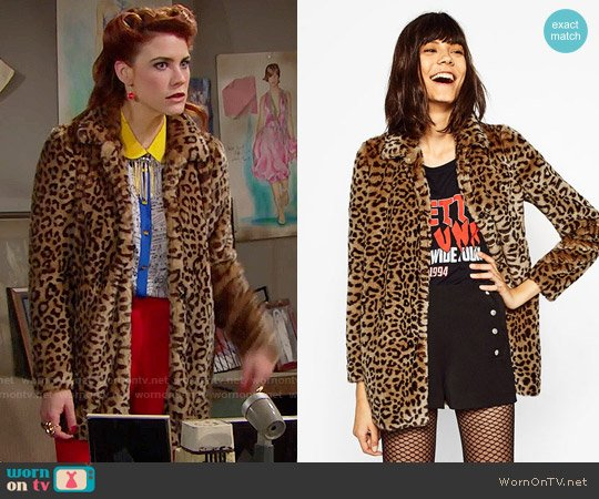 Zara Leopard Faux Fur Coat worn by Sally Spectra (Courtney Hope) on The Bold & the Beautiful