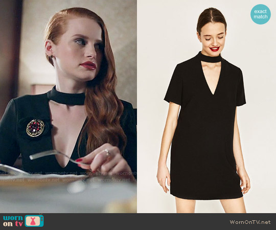 Zara Mini Dress with Collar Detail worn by Cheryl Blossom (Madelaine Petsch) on Riverdale
