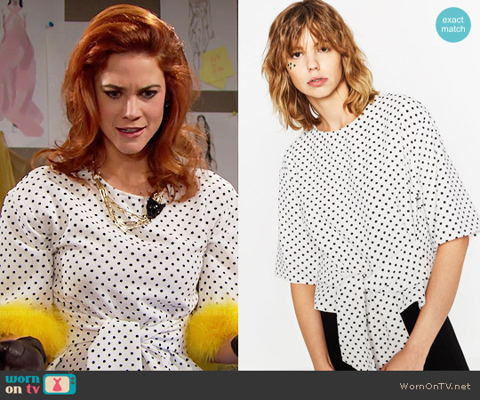 Zara Polka Dot Top worn by Sally Spectra (Courtney Hope) on The Bold & the Beautiful