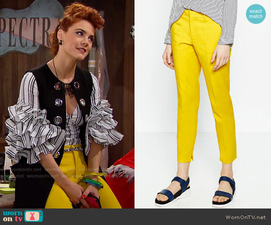 Zara Chino Trousers in Yellow worn by Courtney Hope on The Bold & the Beautiful