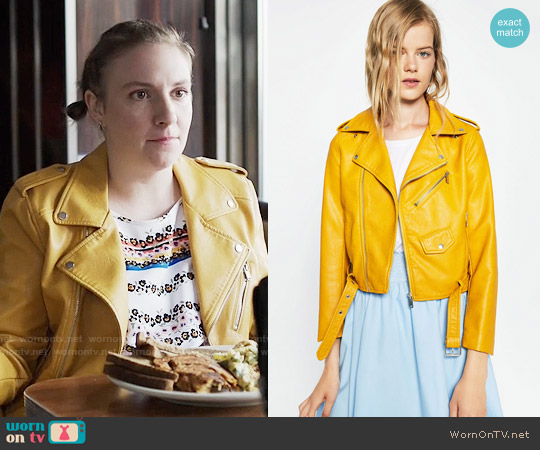 Zara Faux Leather Jacket in Yellow worn by Hannah Horvath on Girls